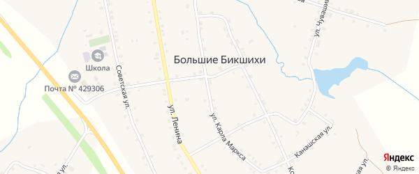 Улица Карла Маркса на карте деревни Большие Бикшихи с номерами домов