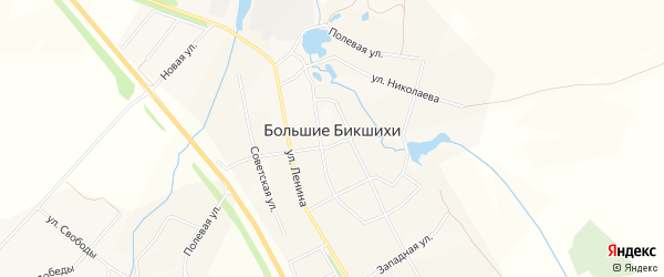 Карта деревни Большие Бикшихи в Чувашии с улицами и номерами домов