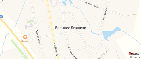 Озерная улица на карте деревни Большие Бикшихи с номерами домов