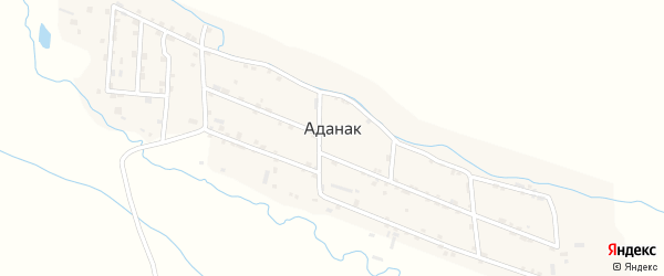 Речная улица на карте села Аданака с номерами домов