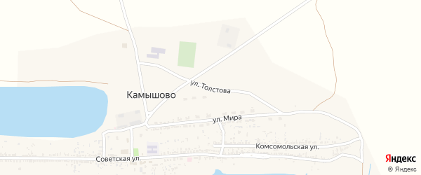 Улица Толстова на карте села Камышово с номерами домов