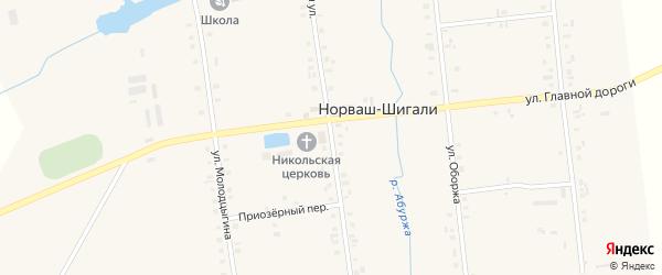 Центральная улица на карте села Норваша-Шигали с номерами домов