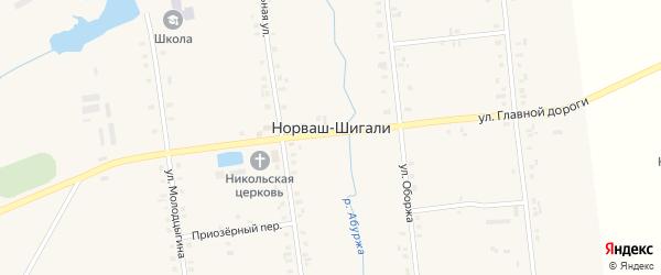 Прибрежный переулок на карте села Норваша-Шигали с номерами домов