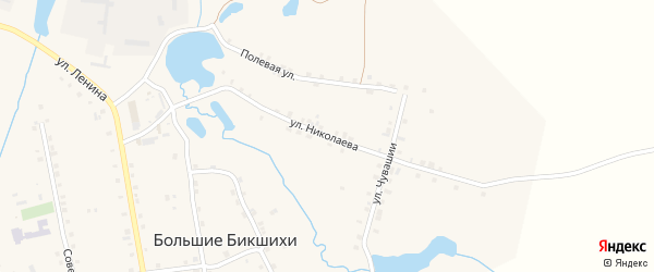 Улица Николаева на карте деревни Большие Бикшихи с номерами домов
