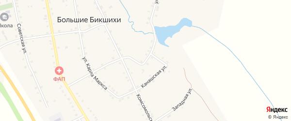 Канашская улица на карте деревни Большие Бикшихи с номерами домов