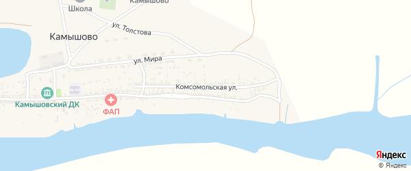 Комсомольская улица на карте села Камышово с номерами домов