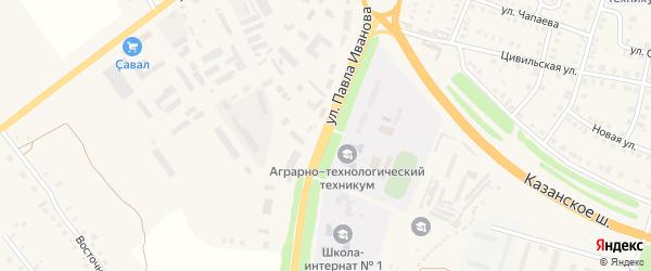 Улица Павла Иванова на карте Цивильска с номерами домов