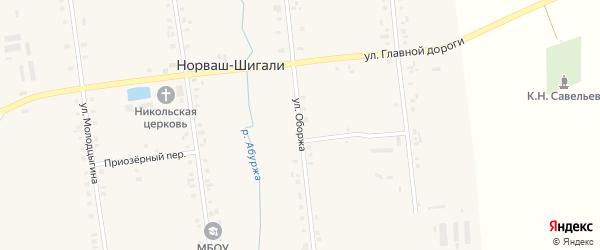 Улица Оборжа на карте села Норваша-Шигали с номерами домов