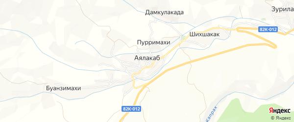 Карта села Аялакаба в Дагестане с улицами и номерами домов