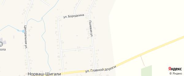 Полевая улица на карте села Норваша-Шигали с номерами домов