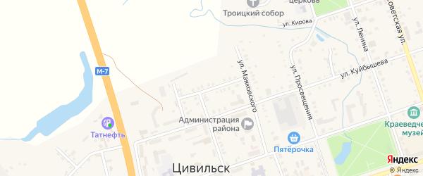 Переулок Маяковского на карте Цивильска с номерами домов