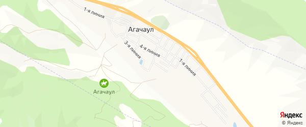 Карта села Агачаула в Дагестане с улицами и номерами домов