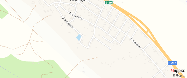 Южная улица на карте села Агачаула с номерами домов