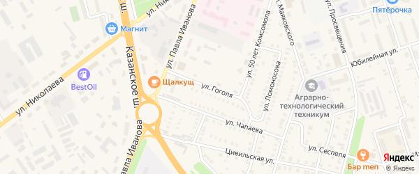 Улица Гоголя на карте Цивильска с номерами домов