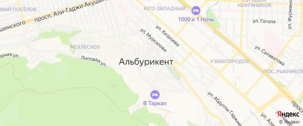 Карта поселка Альбурикента города Махачкалы в Дагестане с улицами и номерами домов
