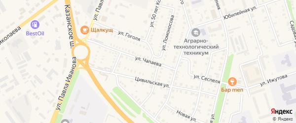 Улица Чапаева на карте Цивильска с номерами домов