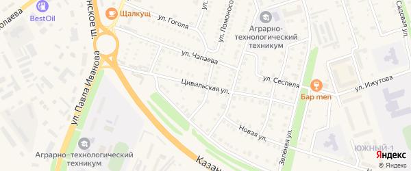 Цивильская улица на карте Цивильска с номерами домов