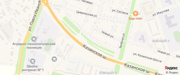 Улица Казанское шоссе на карте Цивильска с номерами домов