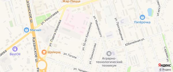 Улица 50 лет Комсомола на карте Цивильска с номерами домов