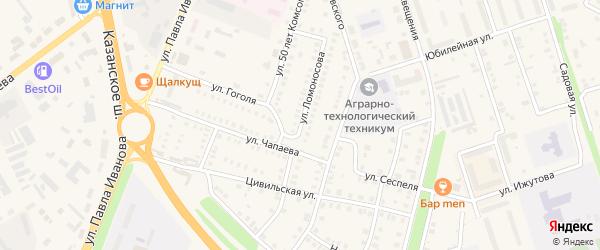 Улица Ломоносова на карте Цивильска с номерами домов