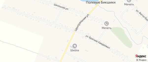 Улица Братьев Хамдеевых на карте деревни Полевые Бикшики с номерами домов
