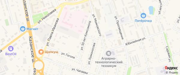 Переулок Ломоносова на карте Цивильска с номерами домов