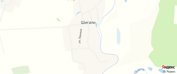 Карта села Шигали в Чувашии с улицами и номерами домов