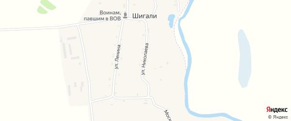Мельничная улица на карте села Шигали с номерами домов