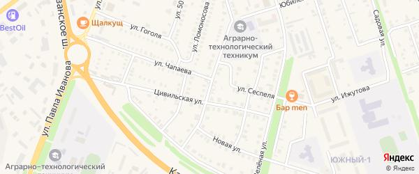 Улица 50 лет Чувашии на карте Цивильска с номерами домов