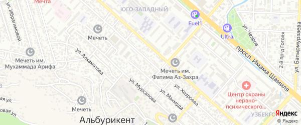 Улица Хизроева на карте поселка Альбурикента с номерами домов