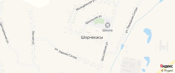 Улица 40 лет Победы на карте деревни Шорчекасы с номерами домов