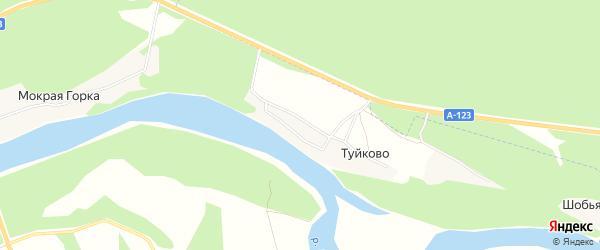 Карта деревни Туйково в Архангельской области с улицами и номерами домов