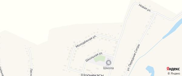Молодежная улица на карте деревни Шорчекасы с номерами домов