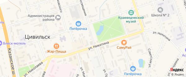 Березовый переулок на карте Цивильска с номерами домов