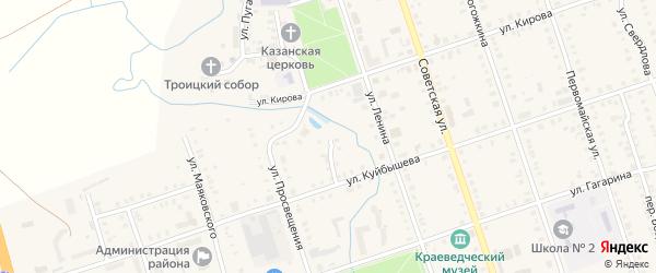 Узкий переулок на карте деревни Вторые Вурманкасы с номерами домов