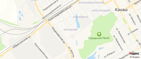 Западный ГСК на карте Канаша с номерами домов