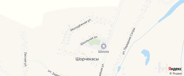 Школьная улица на карте деревни Шорчекасы с номерами домов