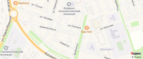 Улица Энтузиастов на карте Цивильска с номерами домов