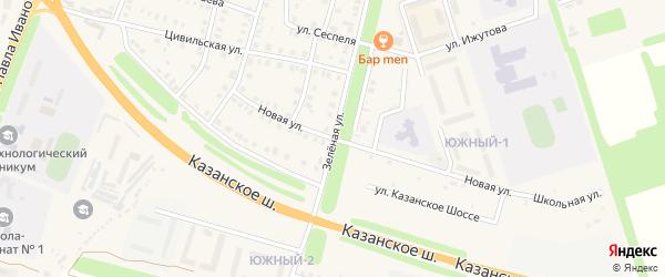 Новый переулок на карте Цивильска с номерами домов