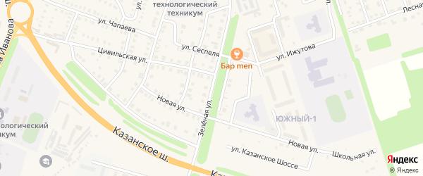 Зеленая улица на карте Цивильска с номерами домов
