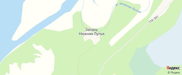 Карта Запань Нижняя Лупья деревни в Архангельской области с улицами и номерами домов