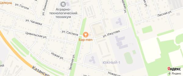 Улица Сеспеля на карте Цивильска с номерами домов