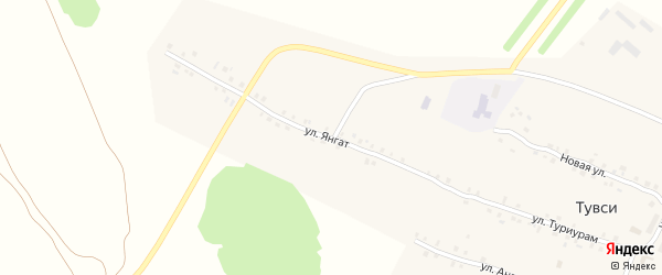 Улица Янгат на карте деревни Тувси с номерами домов