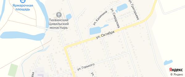 Улица Октября на карте Цивильска с номерами домов