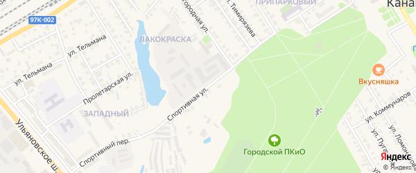 Спортивная улица на карте Канаша с номерами домов