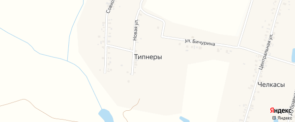 Совхозная улица на карте деревни Типнер с номерами домов