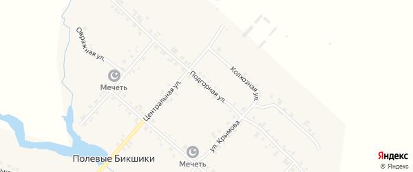 Подгорная улица на карте деревни Полевые Бикшики с номерами домов