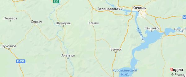 Карта Комсомольского района республики Чувашия с населенными пунктами и городами