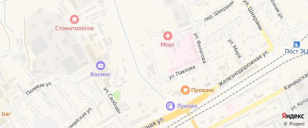 Больничный переулок на карте Канаша с номерами домов