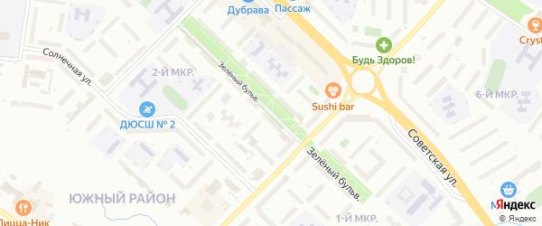 Зеленый бульвар на карте Новочебоксарска с номерами домов